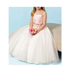 A-line Spaghetti Straps Satin Tulle Flower Girl Dresses with Lace Applique Waist