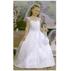 Lovely Ball Gown White Satin First Communion Dresses with Beaded Appliques