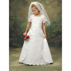 Cute A-Line Short Sleeves Flower Girl Dresses/ First Communion Dresses