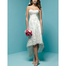 Petite Sweetheart High Low Organza Wedding Dress with Beading Appliques