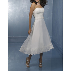 Alluring Strapless Tea Length Organza Wedding Dresses with Lace Appliques