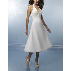 Attractive V-neck Halter Tea Length Chiffon Wedding Dresses with Beaded Detailing