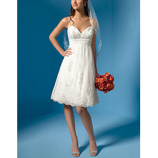 Casual A-Line Sweetheart Beading Informal Short Bridal Reception Dress