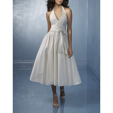 Classic Wedding Dress/ Elegant A-line V-neck Tea Length Taffeta Beading Bridal Gown