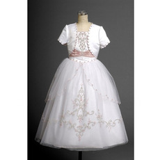Couture Floor Length Plus Size Ball Gown Tulle First Communion Dresses with Jacket