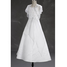 A-line Short Sleeves Beading Full Length White First Communion Dresses