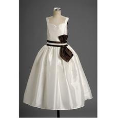 Lovely Ball Gown Straps Floor Length Taffeta Satin Flower Girl Dresses