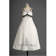 A-line Wide Straps Beaded Embroidered Two Tone Flower Girl Dresses