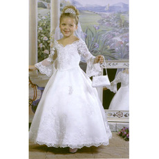 Discount Ball Gown Off-The-Shoulder Long Sleeves White Flower Girl Dresses/ Pretty Full LengthAppliques First Communion Dress