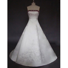 A-Line Strapless Court train Satin Embroider Beading Wedding Dress