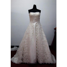 Alluring A-Line Strapless Court Train Satin Lace Beading Wedding Dress with Split Front