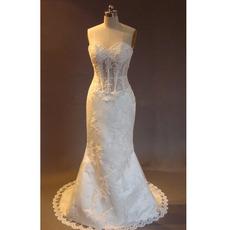 Classic Mermaid Sweetheart Court train Satin Beading Wedding Dress