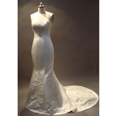 Elegant Mermaid Strapless Chapel Satin Embroider Beading Wedding Dress