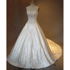 Classic A-Line Strapless Chapel Satin Embroider Beading Wedding Dress