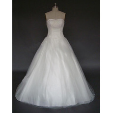 Classic A-Line Strapless Chapel Satin Tulle Beading Wedding Dresses