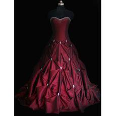 Ball Gown Sweetheart Court train Satin Taffeta Beading Wedding Dresses
