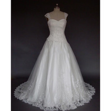 Elegant A-Line Sweetheart Satin Tulle Wedding Dress/ Wide Straps Court Train Lace-up Beaded Appliques Bridal Gowns