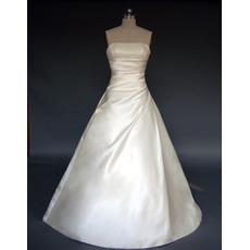 Classic A-Line Strapless Court train Satin Beading Wedding Dresses