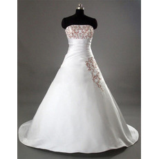 Classic A-Line Strapless Court train Satin with Bowknot Wedding Dresses