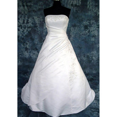 A-Line Strapless Satin Beading with Embroider Plus Size Wedding Dresses