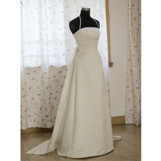 Classic A-Line Shoulder Strap/ Court train Satin Organza Wedding Dress