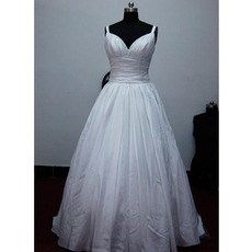 Classic A-Line Sweetheart Court train Satin Taffeta Wedding Dresses