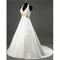Classic A-Line Halter V-Neck Court train Satin Beading Wedding Dresses