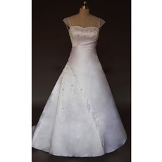 Simple Elegant A-Line Court train Satin Beading Wedding Dresses