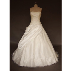 Ball Gown Strapless Court train Satin Lace Embroidered Wedding Dresses