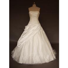 Elegance Beaded Applique Court train Bubble Skirt with Layered Skirt Taffeta Wedding Dresses