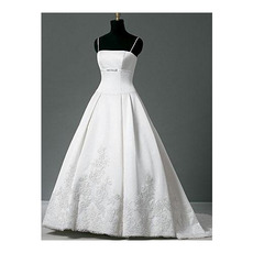 A-Line Shoulder Court train Beading Lace Embroidered Wedding Dresses