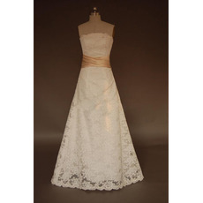 Simple A-Line Strapless Sweep train Lace with Girdle Wedding Dresses