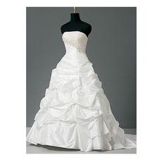 Glamorous Ball Gown Strapless Asymmetrical Waistline Taffeta Bridal Gown