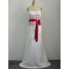 Sheath Shoulder-Strap Court train Satin Beading Lace Wedding Dresses