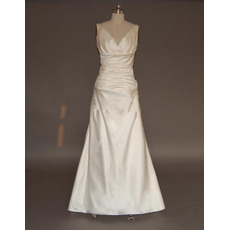 Discount Simple Sheath V-Neck Satin Wedding Dresses with Ruch Detail