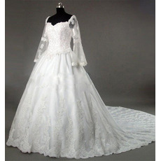 Gorgeous Chapel Train Beading Appliques Satin Organza Wedding Dresses with Long Bell Sleeves