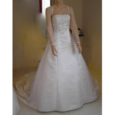 A-Line Square Court train Satin Plus Size Wedding Dresses with Sleeves