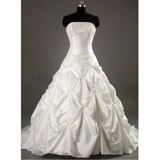 Glamorous Strapless Pick-up Court train Beadings Taffeta Wedding Dresses