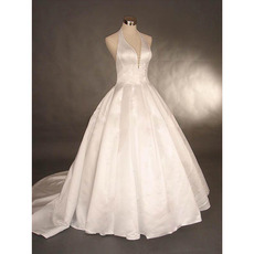 Simple Ball Gown Halter Deep V-Neck Court Train Satin Wedding Dresses