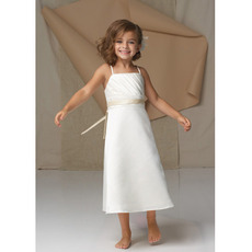 Pretty A-Line Spaghetti Strap Sleeveless Tea Length Flower Girl Dress