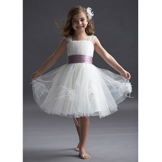 Cute Square Sleeveless Flower Girl Dresses/ Pretty Knee Length Tulle Girl Dresses with Hand-made Flowers and Feather Bottom