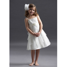 Empire Straps Sleeveless Knee Length Satin Organza Flower Girl Dresses