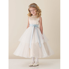 Beautiful Ball Gown Sleeveless Satin Tulle Beading Flower Girl Dresses