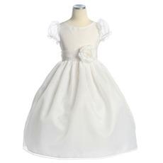 Pretty Princess Ball Gown Round Puff Sleeves Organza Flower Girl Dress