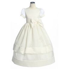 Inexpensive Pretty Ball Gown Bateau Puff Sleeves Flower Girl Dresses