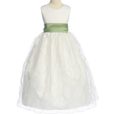Cheap Ball Gown Round Sleeveless Organza Satin Flower Girl Dresses
