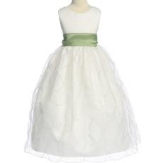 Cheap Ball Gown Round Sleeveless Organza Satin Flower Girl Dresses