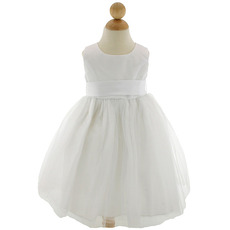 Little Girls Pretty Ball Gown Round Sleeveless Tulle Flower Girl Dresses