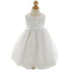 Little Girls Pretty Ball Gown Round Sleeveless Tulle Flower Girl Dresses