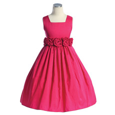 A-Line Square Sleeveless Tea Length Taffeta Little Girls Party Dresses